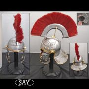 Roman Gallic 'G' Centurion Helmet With Red Plume -18 Gauge